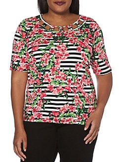 c4d95557cd46e QUICK VIEW. Rafaella. Plus Plus Striped Blossoms Cutout Top