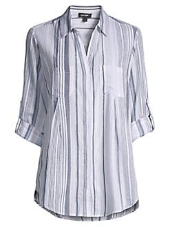 b6208158d1f8 Product image. QUICK VIEW. Lord & Taylor. Nancy Striped Gauze Shirt