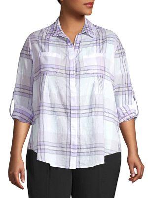 Image of Plus Nancy Gauze Roll-Tab Shirt