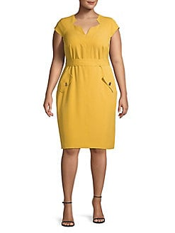 9791b82c58d Product image. QUICK VIEW. Kasper. Plus Split Neck Sheath Dress