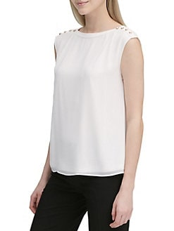 e3c21d1fb030 QUICK VIEW. Calvin Klein. Embellished Sleeveless Top