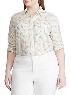 4556e7892 Product image. QUICK VIEW. Lauren Ralph Lauren. Plus Floral Cotton Shirt