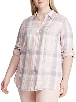d2a9c30b1 Product image. QUICK VIEW. Lauren Ralph Lauren. Plus Plaid Twill  Button-Down Shirt