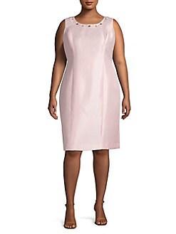 QUICK VIEW. Kasper. Plus Embellished Neck Sheath Dress 15b084f48186