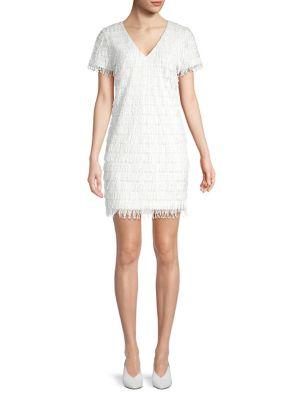 Image of V-Neck Sequin Fringe Mini Dress