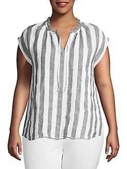 8b4b345d78339 Plus Striped Linen Top WHITE STRIPE. QUICK VIEW. Product image