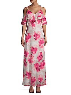 e2616fdccd9 Product image. QUICK VIEW. Calvin Klein. Floral Cold Shoulder Maxi Dress