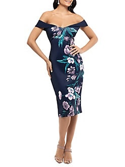 bdaa75dd Product image. QUICK VIEW. Xscape. Floral Off-The-Shoulder Sheath Dress