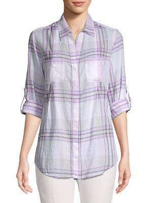 Image of Petite Nancy Gauze Roll-Tab Shirt