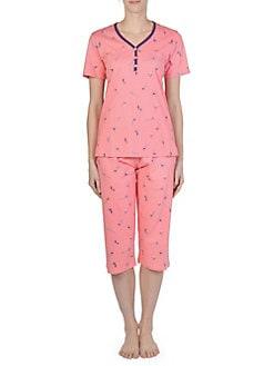 166c0c6196 QUICK VIEW. Claudel. 2-Piece Floral Capri Cotton Pajama Set