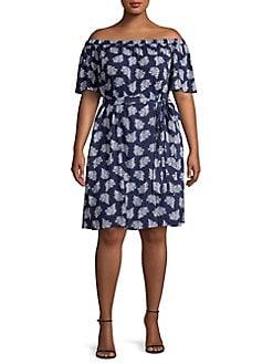 93ec4cd47d8 Product image. QUICK VIEW. MICHAEL Michael Kors. Plus Printed  Off-the-Shoulder Dress