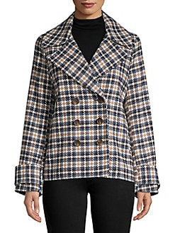 938a0fcc30a4 Product image. QUICK VIEW. Miss Selfridge. Plaid Double-Breasted Coat