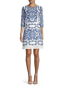 b28163ff07e66 QUICK VIEW. Gabby Skye. Printed Cotton Blend Sheath Dress