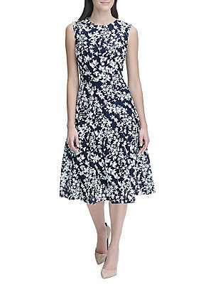 802b50449841f Tommy Hilfiger - Floral Dot Lace Midi Fit-&-Flare Dress - lordandtaylor.com
