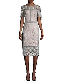 ef54049b7751 QUICK VIEW. Tadashi Shoji. Tied-Sleeve Border Lace Sheath Dress