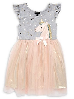 775ac540c Little Girl's Unicorn Mesh Tiered Dress GREY. QUICK VIEW. Product image.  QUICK VIEW. Zunie