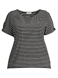 78e60367 Product image. QUICK VIEW. Calvin Klein. Plus Slit Sleeve Striped T-Shirt