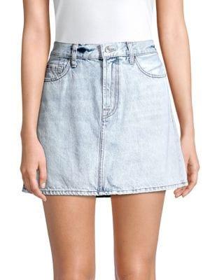 Image of Acid Wash Denim Mini Skirt