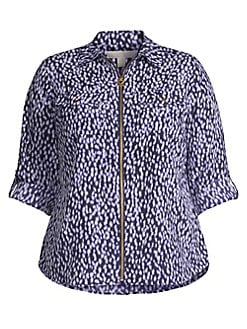 04598ad0 Plus Ikat Spot Print Pebble Crepe Blouse DARK LAVENDER. QUICK VIEW. Product  image