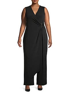 3a85809001 Plus Faux-Wrap Crop Jumpsuit BLACK. QUICK VIEW. Product image