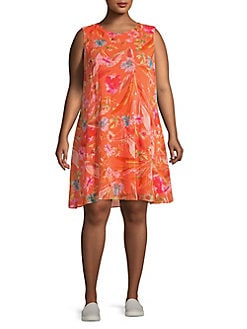 26bc41ea9a6 QUICK VIEW. Calvin Klein. Plus Floral Sleeveless Trapeze Dress