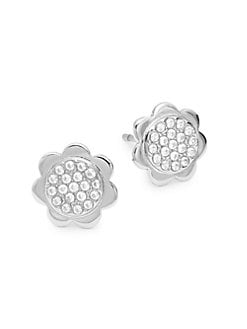 eaea54a55 QUICK VIEW. Kate Spade New York. Sterling Silver & Crystal Scalloped Stud  Earrings