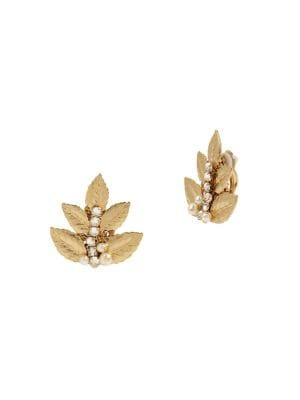 Image of Coral Reign Goldtone, Faux Pearl & Crystal Leaf Cluster Clip-On Earrings
