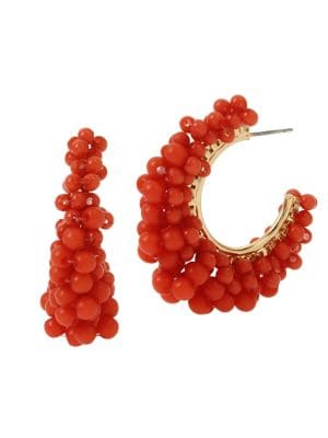 Image of Coral Reign Goldtone & Acrylic Beaded C-Hoop Earrings