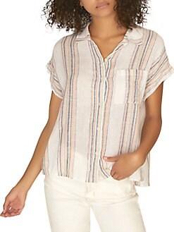 7e6d917ae33e4b QUICK VIEW. Sanctuary. Short Sleeve Striped Linen Shirt