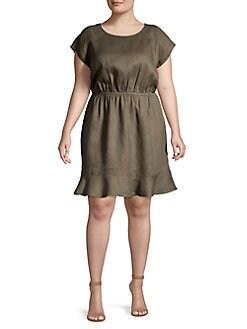 7dd17ceca6e QUICK VIEW. Vince Camuto. Plus Cinched Flounce Linen Dress