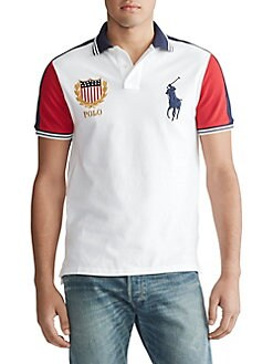 0befadd2 Classic Fit Mesh Polo Shirt WHITE MULTI. QUICK VIEW. Product image