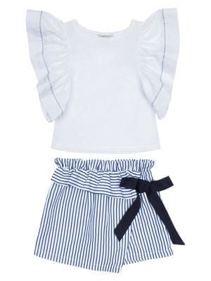 Image of Baby Girl's Cotton Blend Top & Stripe Wrap Shorts