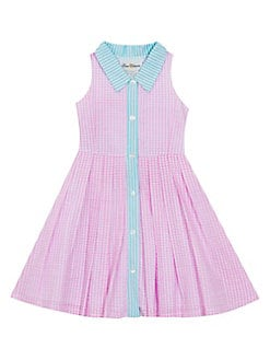 dda82c278221 Little Girl's Gingham Button Front Pleated Dress PINK. QUICK VIEW. Product  image