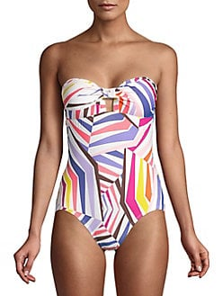 76ad246714103 Product image. QUICK VIEW. Kate Spade New York. One-Piece Geobrella Molded  Bandeau Swimsuit