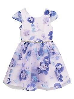 cd812690556b2 QUICK VIEW. Rare Editions. Little Girl s Jewel-Trim Floral Organza Dress