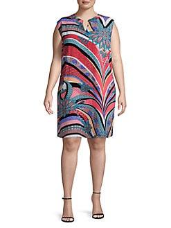 68a92169ecf Plus Pattern Split Neck Shift Dress PINK MULTI. QUICK VIEW. Product image