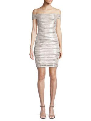 Image of Off-The-Shoulder Ruched Foiled Mini Dress