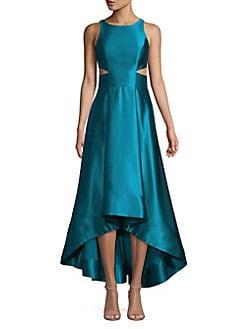 0b21bdf1c2 QUICK VIEW. Aidan by Aidan Mattox. Satin Cutout High-Low A-Line Evening  Dress