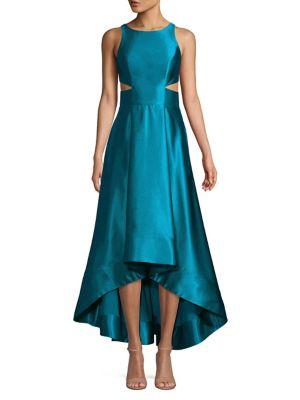 Image of Satin Cutout High-Low Evening Dress