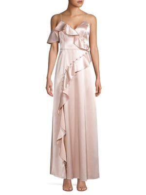 Image of Ruffled Satin Gown