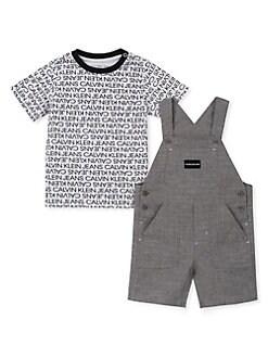 a1a546c12 QUICK VIEW. Calvin Klein. Baby Boy's 2-Piece Printed Logo Tee & Chambray  Shortalls Set