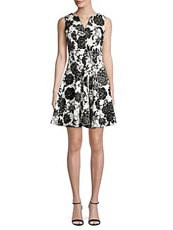 1db8960212c Paneled Floral Splitneck Mini Dress IVORY BLACK. QUICK VIEW. Product image