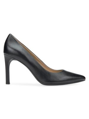 Image of Faviola Leather Pointy Pumps