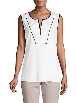 c700251537e7c QUICK VIEW. Calvin Klein. Split Neck Sleeveless Top