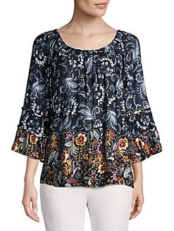2df4b22581aff Paisley Three-Quarter Blouse NAVY. QUICK VIEW. Product image