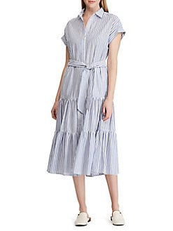 913e29fdd2 Product image. QUICK VIEW. Lauren Ralph Lauren. Tiered Cotton Shirt Dress