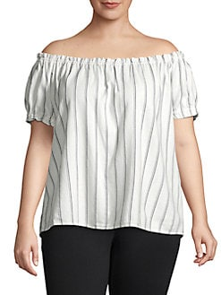 b3eadf9b79c Product image. QUICK VIEW. Vero Moda Curve. Plus Striped Off-the-Shoulder  Top