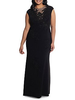 bfaa32ec33 Plus Floral Embroidered Sleeveless Gown BLACK. QUICK VIEW. Product image