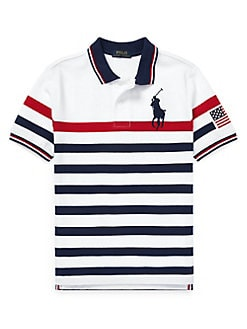 7bbfc8a2 Boy's Striped Cotton Mesh Polo Shirt WHITE. QUICK VIEW. Product image.  QUICK VIEW. Ralph Lauren Childrenswear
