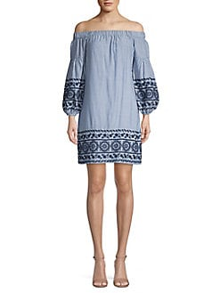 2c1a40fd16694 QUICK VIEW. Vince Camuto. Embroidered Off-The-Shoulder Cotton Dress